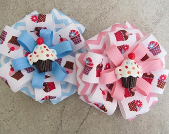 CUPCAKE HAIR BOW - 4 inch stacked ribbon style with hand painted resin center