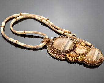Bead Embroidery Necklace Pendant Beadwork with agates and Swarovsky crystal.