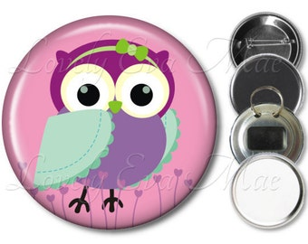 Colorful Owl Pocket Mirror, Owl Compact Mirror, Owl Magnet, Owl Bottle Opener Key Ring, Owl Keychain, Owl Pin, Owl Button, Pink & Purple