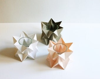Tealights | Pack of 3 | Living Room | Handmade Origami Paper Lighting | FREE SHIPPING
