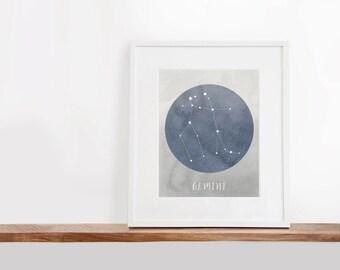 Gemini Zodiac Printable Art, 8x10 inches, Nursery Art, Constellation Art, Watercolor Art Print, Digital File