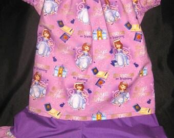 Handmade Sophia the First Princess Disney 2 piece set - Pants, Capri, or shorts available