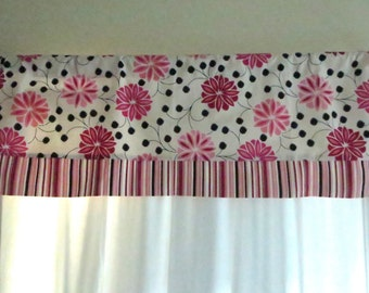 Pink window valance , girl window valance, floral valance, floral and stripped window valance, black and pink valance