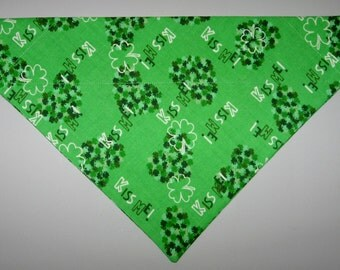 """St Patrick's Day """"Kiss Me!"""" & Clover Hearts Green Dog Bandana Scarf – Double Sided / Slide over Collar – Size Small, Medium, Large, X-Large"""