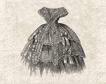 Digital Victorian Dress Illustration Download