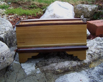 Aged Wooden Poplar Jewelry Box.