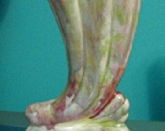 AUSTRALIAN EARLY ART deco pink-lilac-greens drip glazed cornucopia -shell vase, m.c.p or pates pottery?