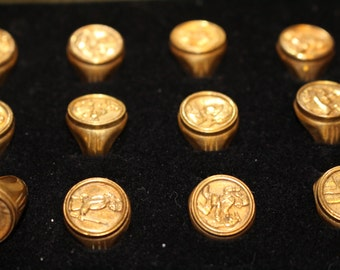 1950s Davey Crockett Collectible Toy Rings Set of 12