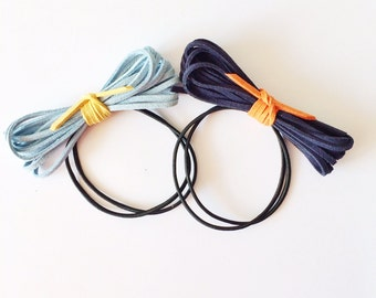 CLEARANCE - Set of 2 Bundled Hair Ties - Colorful hair ties - Elastic hair ties - Bow hair ties - Blue suede - Suede bow - Suede cord