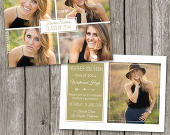 Senior Announcement Template Graduaton Card - High School Senior Graduation Photo Invitation Card -  College Grad Photoshop Template - GA03