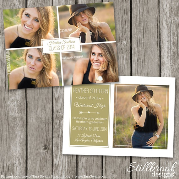 Senior announcement template graduaton card high school for Free senior templates for photoshop