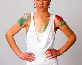 Maya Calico Cowl Front Tank Dress in White for Womens Summer Fashion Yoga Wear  Boho Chic Gift for her Wholesale