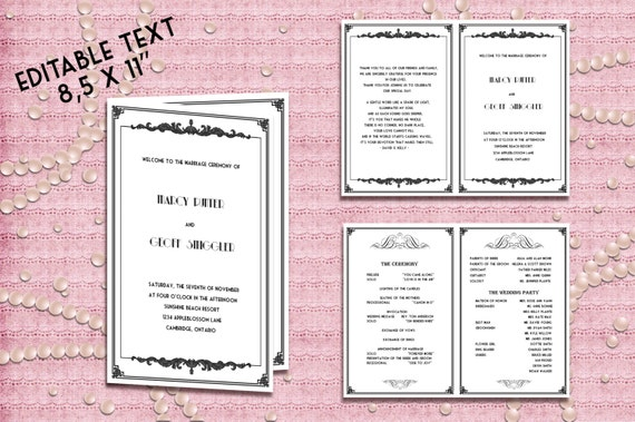 printable wedding program template great gatsby style art. Black Bedroom Furniture Sets. Home Design Ideas