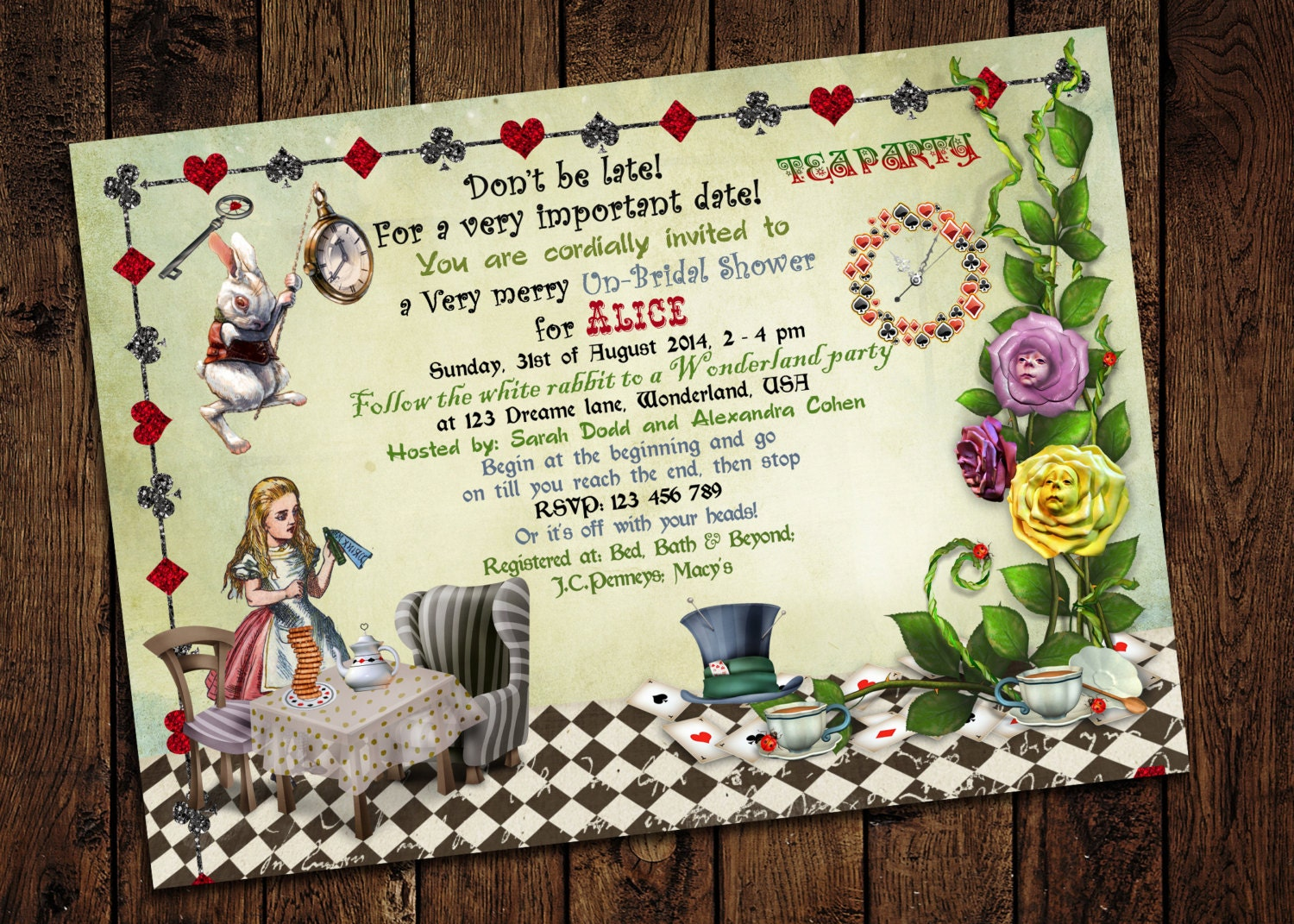 Alice in Wonderland Bridal Shower Invitation Mad Hatter Tea