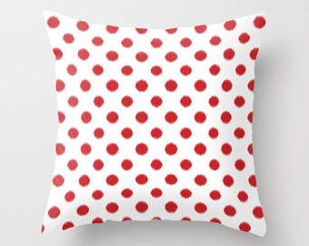 Christmas Pillows, Polka Dot Pillow Cover, Ikat, Red, Velvet Cushion, Pillow Cover 18x18, 22x22 Cushion Cover, Gifts for Women, Gift for Her