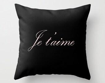 Paris Decor, Black Velvet Pillow Cover, Je T' Aime, Girls Bedroom Decor, Black Throw Pillow, Paris Cushion, Gift for Women, Gift for Her