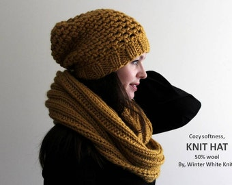Knit hat, THE WINSOME HAT, beanie hat, mustard yellow knit hat, available in many colors, hand knit hat, slouchy beanie toque, cozy softness