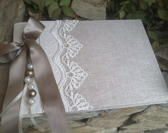 Unique guest book-Elegant  wedding guestbook - Romantic guest book -Best bridal gift - Lace guestbook