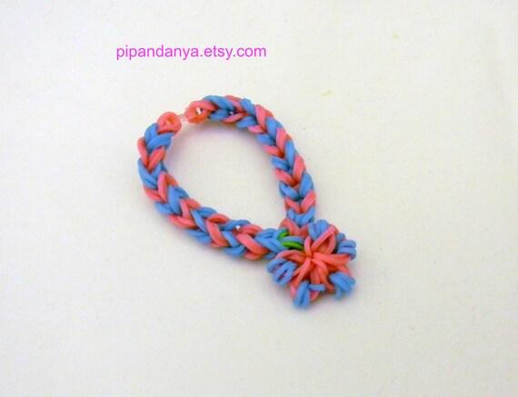 loom band bracelet with flower charm rainbow loomrubber band