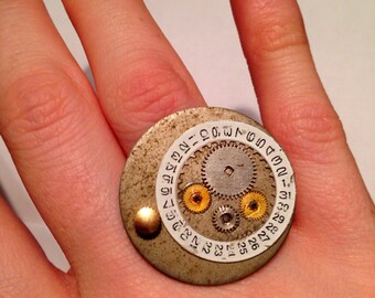 Handmade Steampunk Adjustable Ring