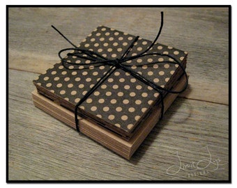 3x3 Blank Cards with envelopes (set of 18), kraft with black patterns