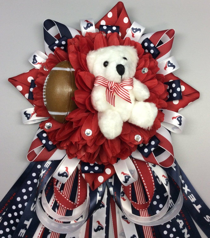 Mums Baby Shower: Houston Texans Inspired Baby Shower Mum Corsage