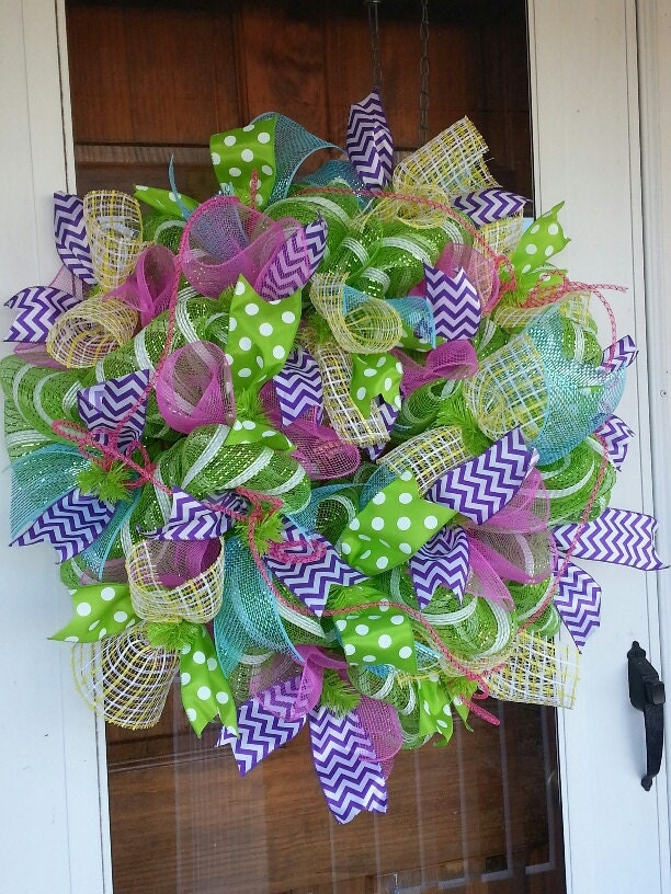 Spring And Summer Deco Mesh Wreath