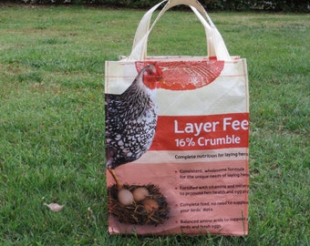 3 Recycled Feed Bag Totes