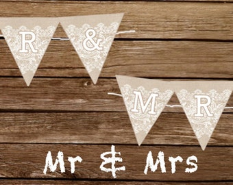 Mr & Mrs Burlap and lace wedding sign - Print At Home