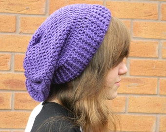 Crocheted Slouchy Hat in Purple.