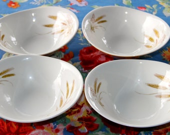 "Vintage 1960's Dessert Cereal Bowl ""wheat"" Bristol pottery England x 4"