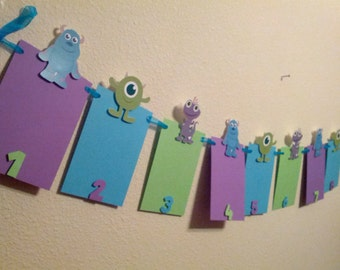 Monsters Inc photo banner 12 months 1st birthday I am one