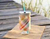 Summer Plaid Mason Jar Tumbler | Personalized Tumbler | Custom Mason Jar | Monogrammed Tumbler | Summer Plaid Fabric Sleeve
