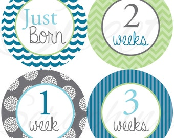Monthly Stickers for Boys - Blue Gray and Mint Just Born to 3 Weeks - Milestone Stickers - Boy Stickers - Baby Shower Gift