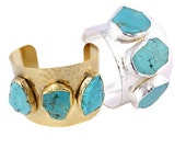 Turquoise Bracelet Electroplated 24k Gold or Sterling Silver Large Cuff