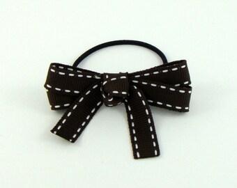 Brown Ribbon Bow Hair Ponytail Holder Elastic Hair Tie Girls Hair Accessory