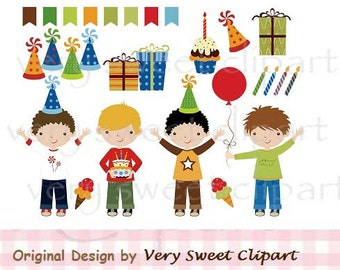 Birthday boy clipart digital illustration instant download
