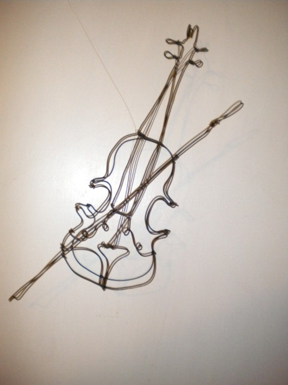 Fiddle violin3 d steel wire sculpture for How to make a wire sculpture