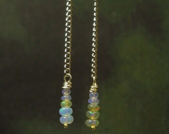 Natural Ethiopian Opal Earrings/ Sterling Silver/ Opal Dangling Earrings