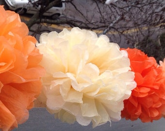 "4  Paper Pom Pom Bridal Shower Decor Tissue Pom Pom Paper Decorations Tissue Paper Flowers Wedding Decoration Paper Pom 8""10""12""Peach Orange"