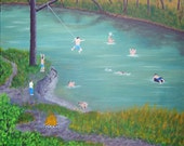 REDUCED Swimming Hole ORIGINAL Acrylic Painting Canvas 16X20 River Scenery Landscape Dog Innertube Boys Fun Rope Swing Nostalgia Campfire