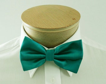 Mens Bowtie Teal Green Solid Banded Pre Tied Bow Tie