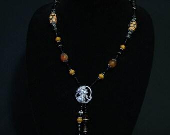Carnelian necklace with a Nouveaux Lady pendant
