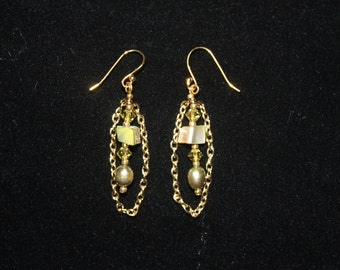 Green Mother of Pearl and Gold Chain earrings