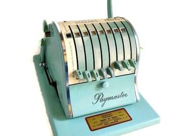 Vintage mid century Paymaster mint blue teal  paymaster vintage check printer mid century office