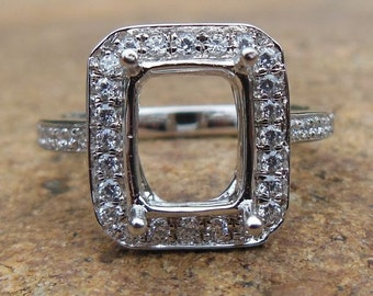 Solid 14K White Gold Cushion Cut  Shape 6.2x8.2MM Semi Mount Ring / Diamond Ring