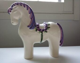 SALE 18% - Rosa Ljung Handpainted Ceramic Dalarna Horse