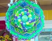 Glass Kaleidoscope Plate Yard Art Glass Plate Flower Outdoor Yard Art Plate Hanging Suncatcher Garden Plate Flower Garden Glass Plate