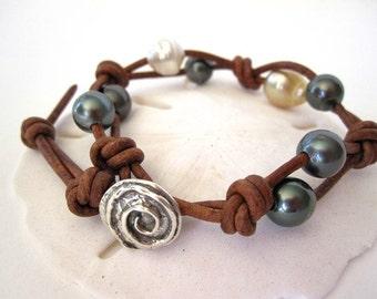 Tahitian Pearl Leather Wrap Bracelet, South Sea Pearl Bracelet, Leather Pearl Bracelet, Sterling Silver Leather Pearl Bracelet, Black Pearl