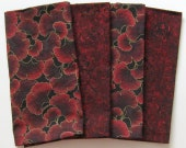 Cloth Napkins - Set of 4 - Large Dinner Napkins, Table Napkins - Mismatched, Assorted, Variety - Dark Red Metallic